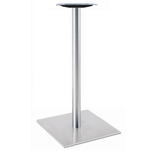 "Square, Brushed Stainless Steel Table Base, 42-1/2"" height, 30"" square base, 3""diameter steel column - replacementtablelegs.com"