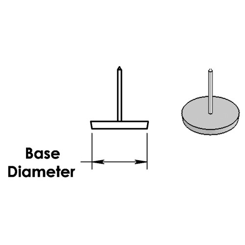 White Nail Glide, Base Diameter Diagram - replacementtablelegs.com