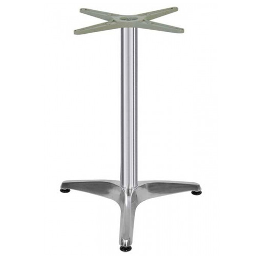 "3 LEG PRONG TABLE BASE, Polish Aluminum, 28-1/4"" height, 24"" base spread, 2-1/2""diameter column - replacementtablelegs.com"