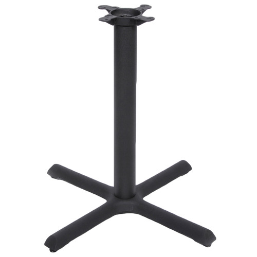 "CAST IRON TABLE BASE, X Style 22""x22"", 28"" height, 3"" diameter steel column - replacementtablelegs.com"