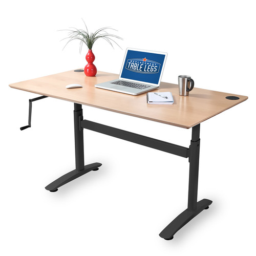 "Height adjustable hand crank desk frame. Height adjustment is 26-1/2"" to 39-3/4"". Finished in black. Tabletop and display items not included with purchase. - replacementtablelegs.com"