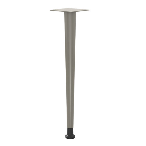 "Tapered Table Leg, 27-3/4"" Height, 2-1/2"" top to 1-1/4"" bottom, welded steel, with 2-3/8"" adjustable leveler - Replacementtablelegs.com"
