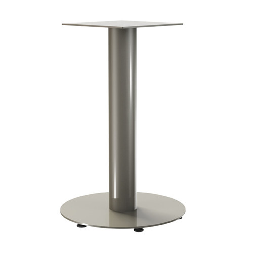 "Round Pedestal Base, 27-3/4"" Height, 18"" Base Diameter, 4"" diameter Column, with welded mounting plate and levelers - Replacementtablelegs.com"