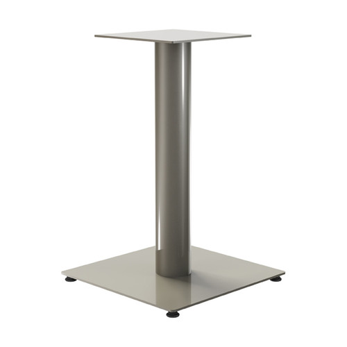 "Square Pedestal Base, 27-3/4"" Height, 23-3/4""x23-3/4"" Base, 4"" diameter Column, with welded mounting plate, levelers (cost extra) - Replacementtablelegs.com"