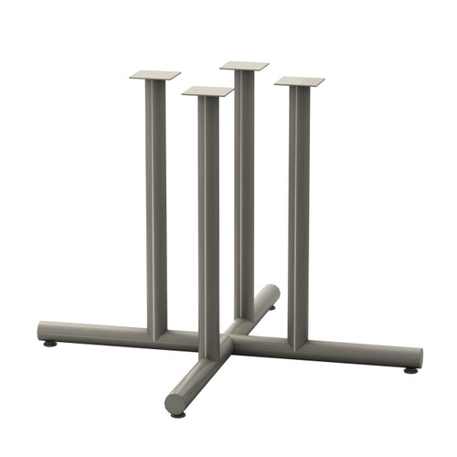 "Tubular 4 Post X-style Table Base, 27-3/4"" height, 48"" x 48"" base spread, four 2"" diameter columns and adjustable levelers"