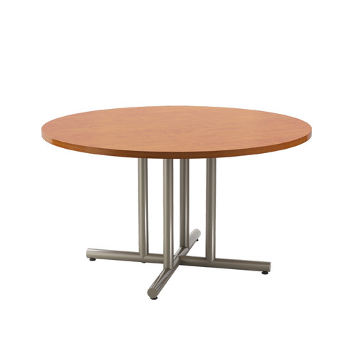 "Tubular 4 Post X-style Table Base, 27-3/4"" height, 48"" x 48"" base spread, four 2"" diameter columns and adjustable levelers. Tabletop not included."