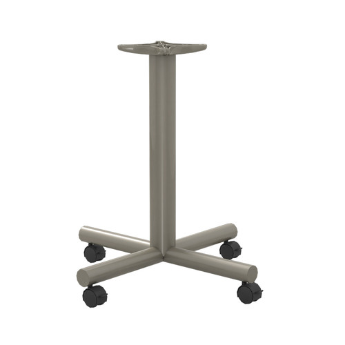 "Tubular X-style Table Base with Casters, 27-3/4"" Height, 22""x22"" Base Spread, 3"" diameter Columns with adjustable Levelers. - Replacementtablelegs.com"