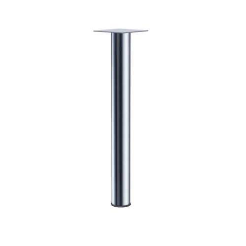 Dining Height Stainless Steel Straight Dining Height Table Leg shown with black ring detail.