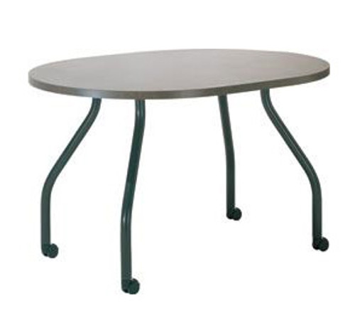 "Bent Table Leg with Caster, 27-3/4"" Height, 1-1/2"" diameter column, welded steel. Tabletop not included. - Replacementtablelegs.com"