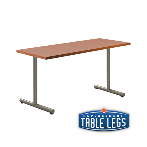 "Adjustable T-style Table Base, 24-3/4"" to 32-3/4"" Height Adjustment, Welded Construction, 2-3/8"" Diameter Column with Adjustable Levelers, SET OF 2. Tabletop not included. - Replacementtablelegs.com"
