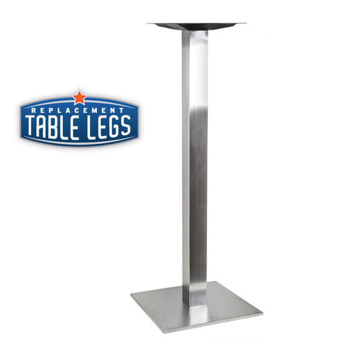 "Square Table Base, Brushed Stainless Steel, 40-3/8"" height, 17"", 22"", or 30"" square base, 3"" square steel column, SINGLE"