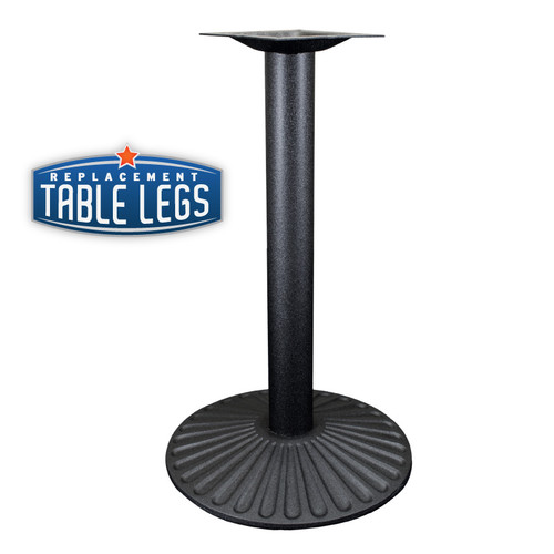 """Cast Iron Sun Table Base, 22"""" Round Base Spread, 29"""" Height, 3"""" diameter column with Cast Iron Base and 9"""" top plate"""