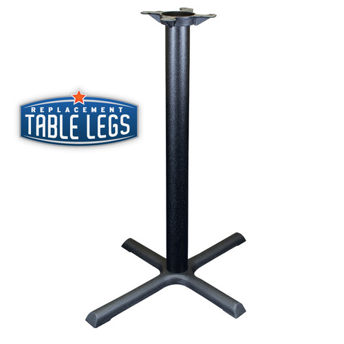 "CAST IRON TABLE BASE, X Style 24""x30"", 40"" height, 3"" diameter steel column - replacementtablelegs.com"
