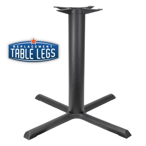 "CAST IRON TABLE BASE, X Style 33""x33"", 28-1/2"" height, 3"" diameter steel column - replacementtablelegs.com"