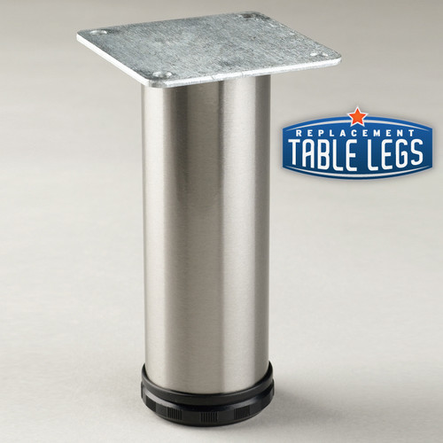 Brushed Steel Como Leg, Cabinet Leg,  2'' diameter, 1-1/8'' adjustable foot - replacementtablelegs.com