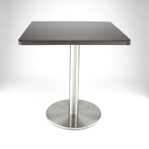 "Stainless steel 18"" round disk style pedestal table base, 28.2"" Dining Height Column shown with dark wood  square table top"