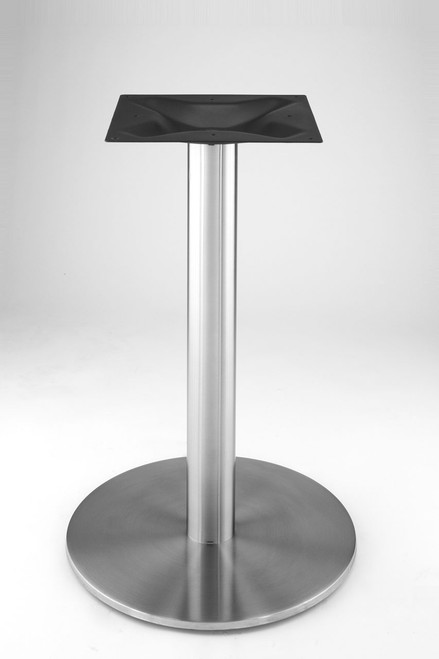 "Stainless steel 18"" round disk style pedestal table base, 28.2"" Dining Height Column shown without table top"