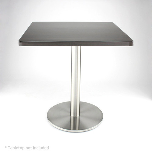 "Stainless steel 18"" round disk style pedestal table base, 28.2"" Dining Height Column shown with dark wood  table top"