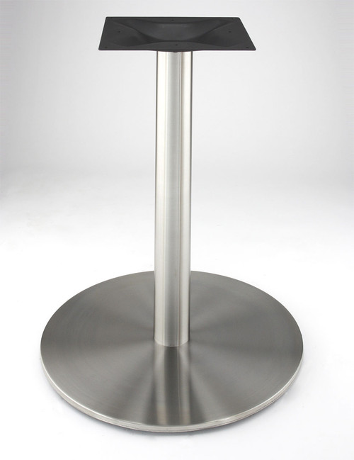 "Stainless steel 21"" round disk style pedestal table base, 34.75"" Counter Height Column shown without table top"