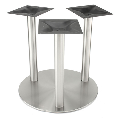 "3-Column, 3"" diameter, 1.5mm wall thickness, stainless steel 30"" round disk style pedestal table base, counter height RFL750-C3 shown without top"