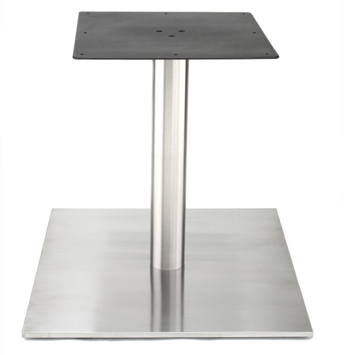 "Nikai Stainless steel 30"" square style pedestal table base, 4.0"" diameter column, Dining Height shown without table top"