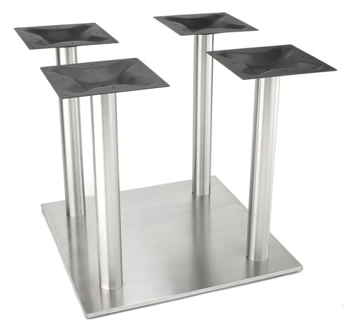 """Nikai Stainless steel 30"""" square style pedestal table base, 4 x 3.0"""" square columns, Dining Height"""