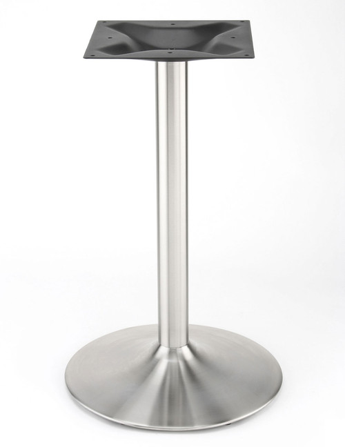 Trumpet or Wineglass style 17 inch diameter stainless steel pedestal table base with 2.5 inch round column shown without table top.