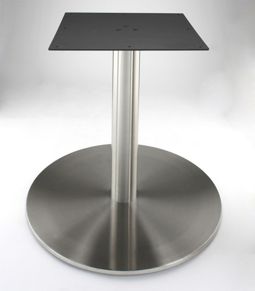 """Stainless steel 30"""" round disk style pedestal table base, 40.75"""" Counter Height (RFL750D) shown without table top"""