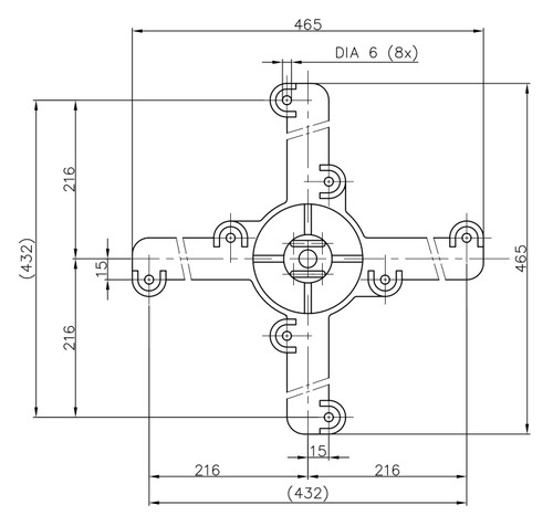Specifications for Table Base Spider Connector 19 Inch Cast Iron
