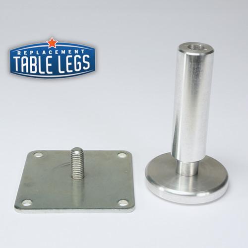 Sedona Style 6, Matte Aluminum, 4'' Cabinet Leg with bracket - replacementtablelegs.com