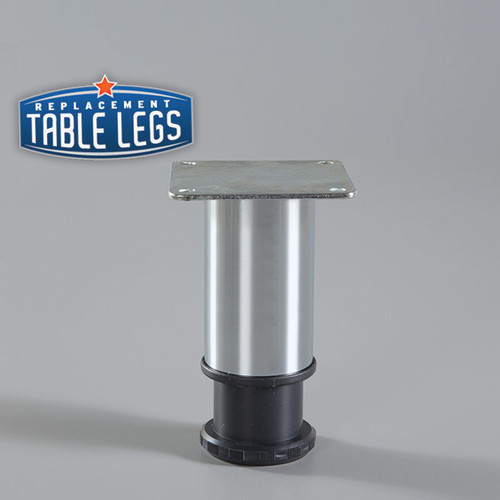 Brushed Steel Como Leg 4'' Cabinet Leg,  2'' diameter, 1-1/8'' adjustable foot - Replacementtablelegs.com
