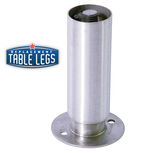 Heavy Duty Cabinet Leg, Food Grade Stainless Steel, 6'' Cabinet Leg with Flange Foot,  2'' diameter, 1-7/16'' adjustable foot - replacementtablelegs.com