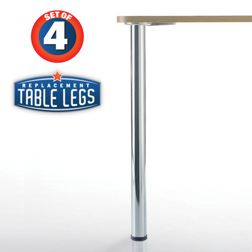 Prisma Metal Table Leg, Chrome, 34-1/4'' height, 2-3/8'' diameter leg, 1-1/8'' adjustable foot - replacementtablelegs.com