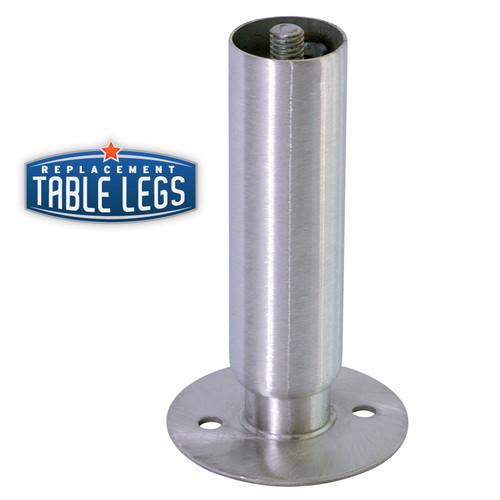 Heavy Duty Cabinet Leg, Food Grade Stainless Steel, 6'' Cabinet Leg with Flange Foot,  1-5/8'' diameter, 1-7/16'' adjustable foot - replacementtablelegs.com
