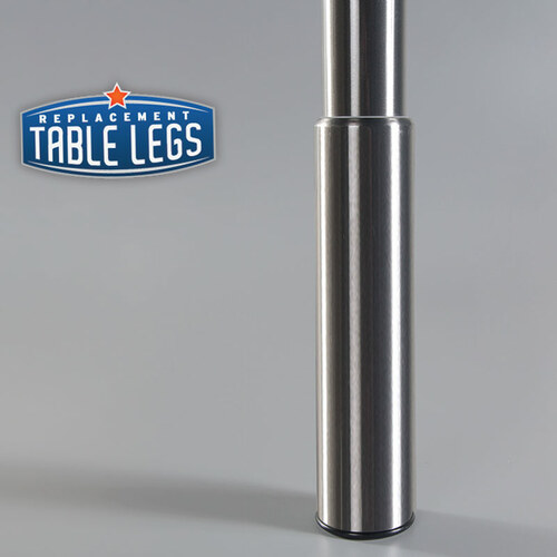 Brushed Steel Studio Telescoping Table Leg 7'' adjustable foot metal cover - replacementtablelegs.com