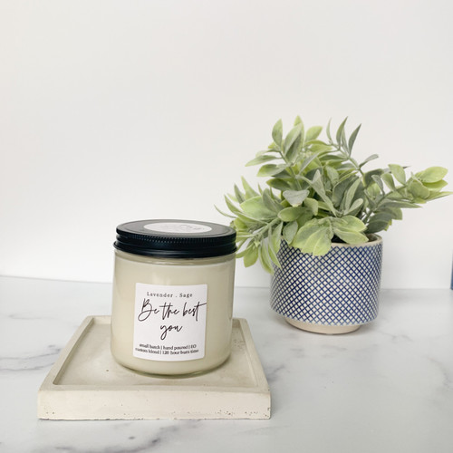 The Grace Effect cement platter candle holder