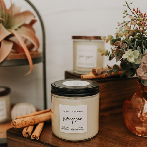 The Grace Effect vanilla cinnamon 16oz soy candle nontoxic