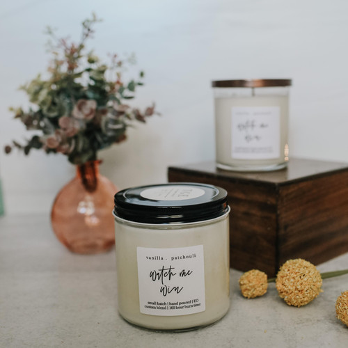 vanilla + Patchouli 100% soy candle