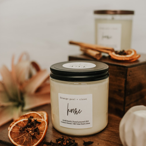 Orange peel + clove 100% soy candle
