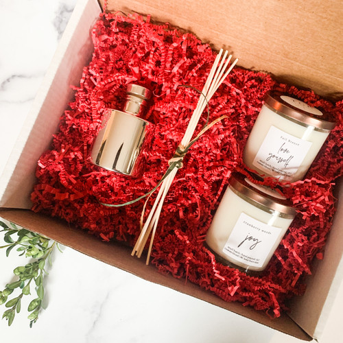 The Grace Effect Christmas gift box.  Soy candle with essential oils