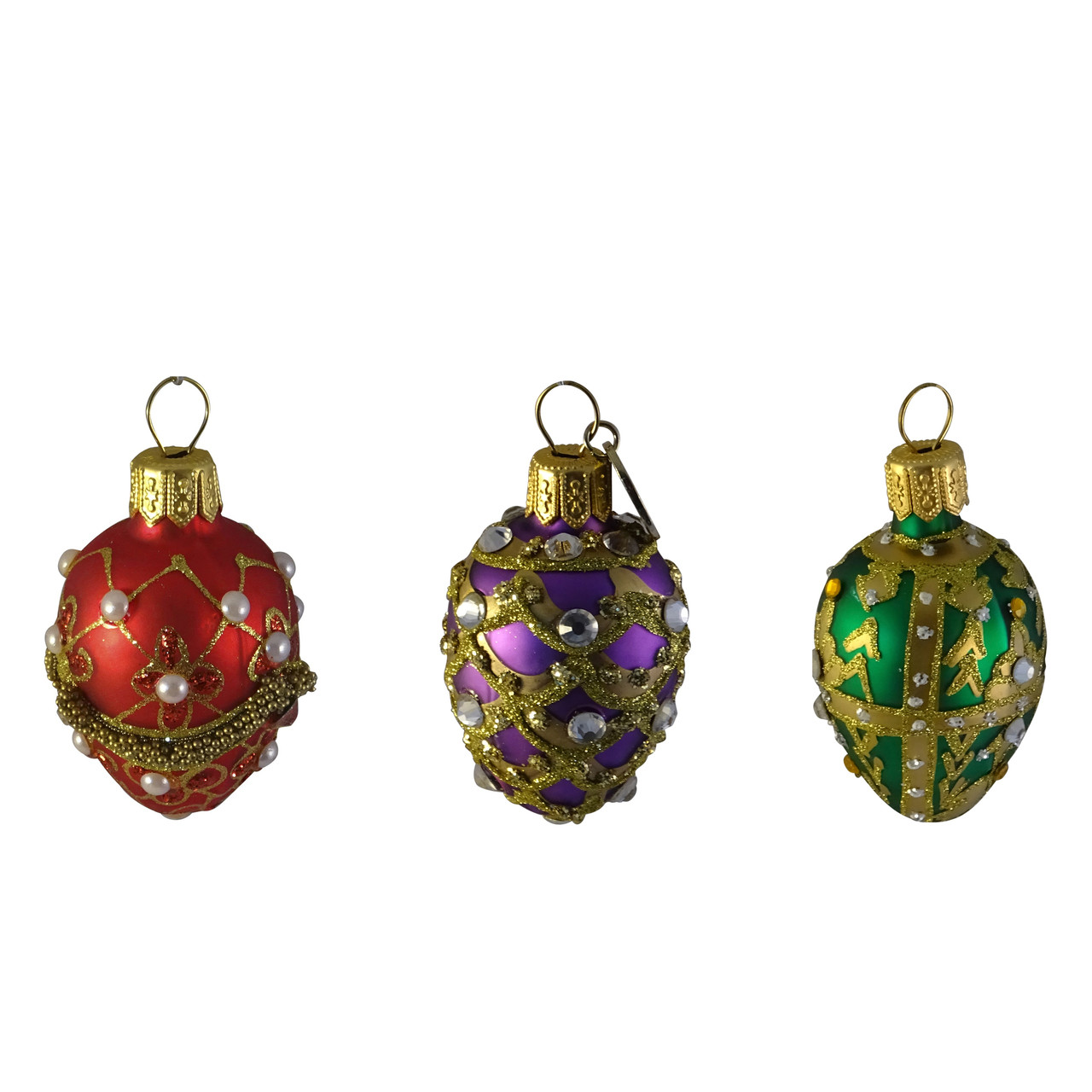 """Poland Blown Glass Jeweled Gold Holly Hand Painted Christmas Ornament 3"""""""