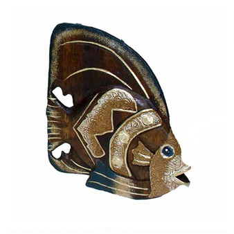 wood curved fish statue