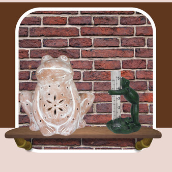 frog rain gauge with frog candle holder luminary