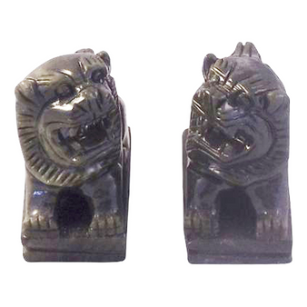 small pair jade temple lions
