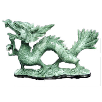Jade Fierce Dragon Statue Hand Carved Stone Sculpture