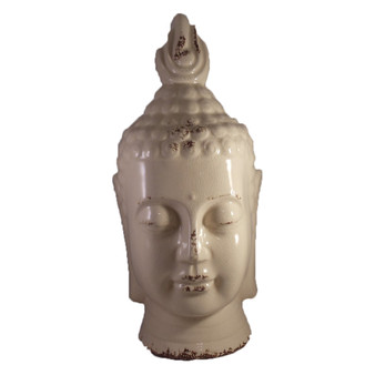 Buddha Bust Off White Ceramic Statue Home Decorating Accent