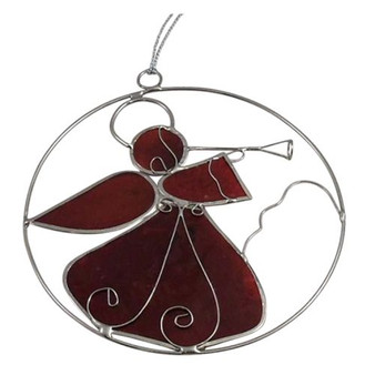 Cherry Red Capiz Shell Angel Sun catcher Silver Tone Ornament