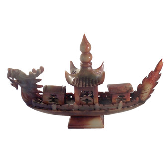 Antiques Collectibles Red Jade Dragon Ship Vintage Sculpture