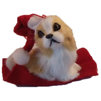 Brown and white dog ornament
