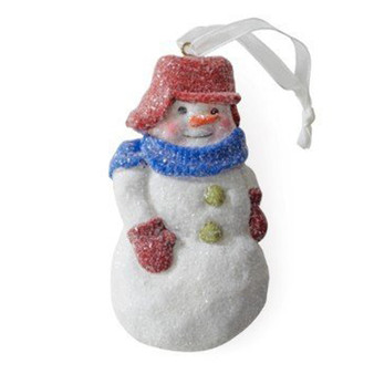 snowman in wool hat holiday ornament
